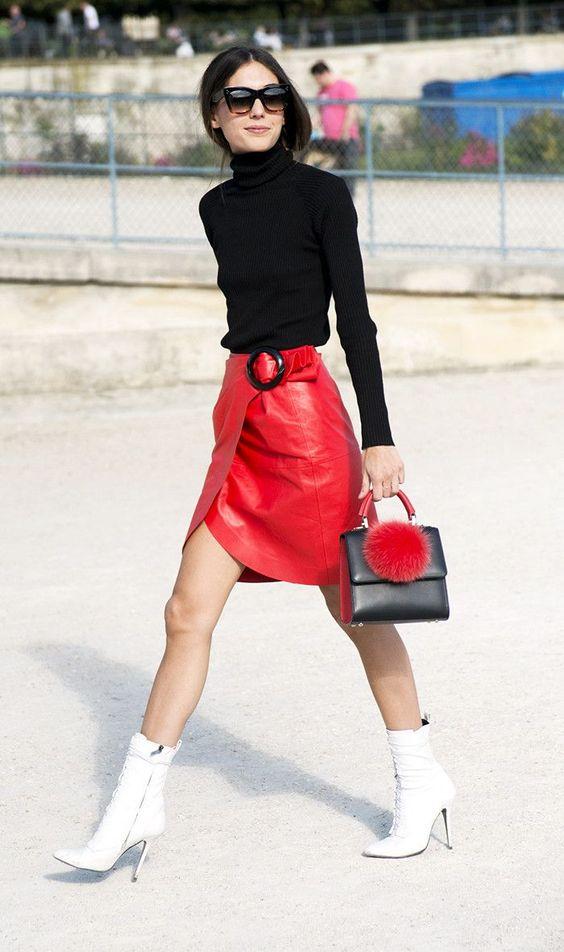 Что надеть с красной юбкой