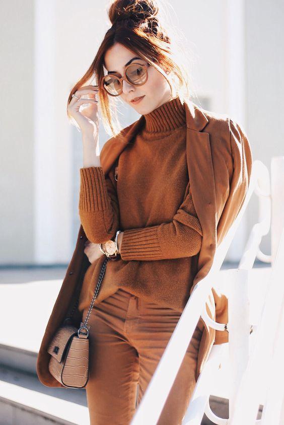 модный образ в коричневом цвете