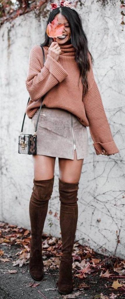 с чем носить коричневые ботфорты фото