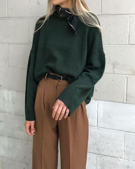 луки с коричневыми брюками