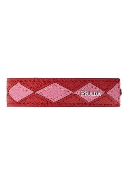 Красный кожаный браслет PRADA