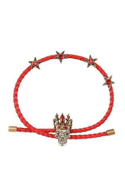 Красный браслет-шнурок с подвесками ALEXANDER MCQUEEN