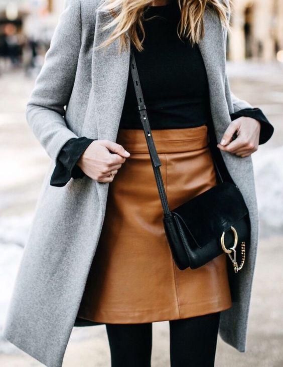 лук с коричневой юбкой