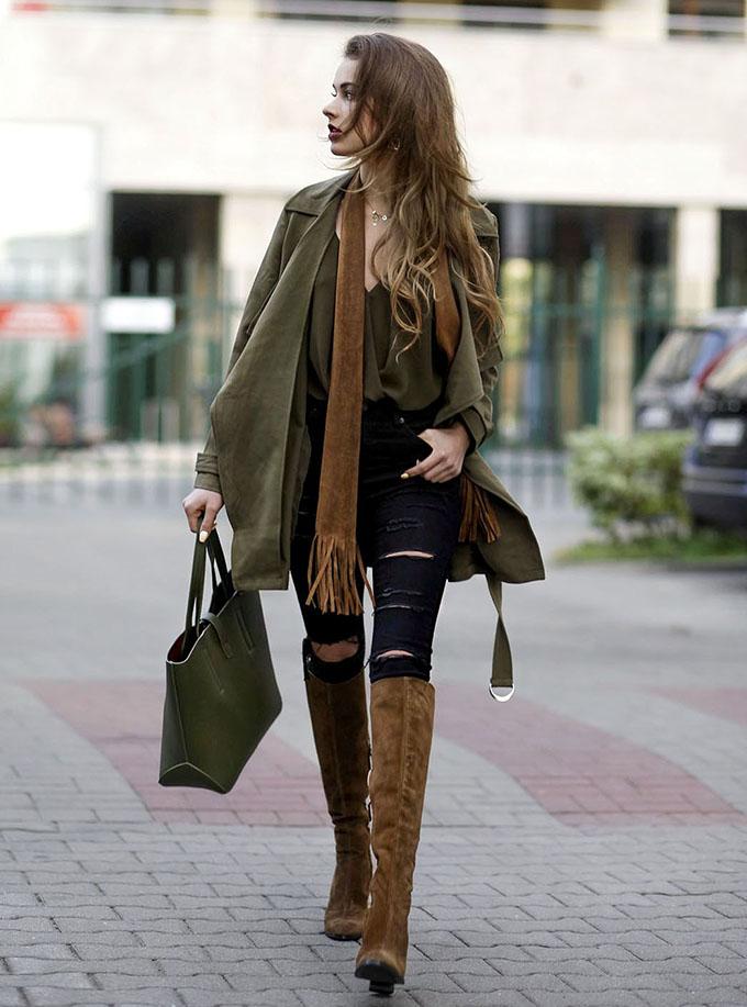 с чем носить коричневые ботфорты