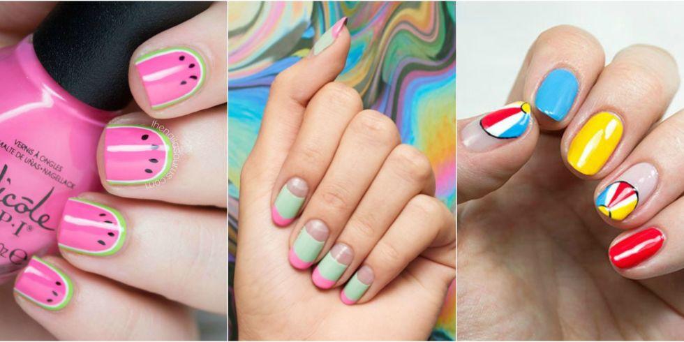 Яркий летний маникюр на короткие ногти дизайн
