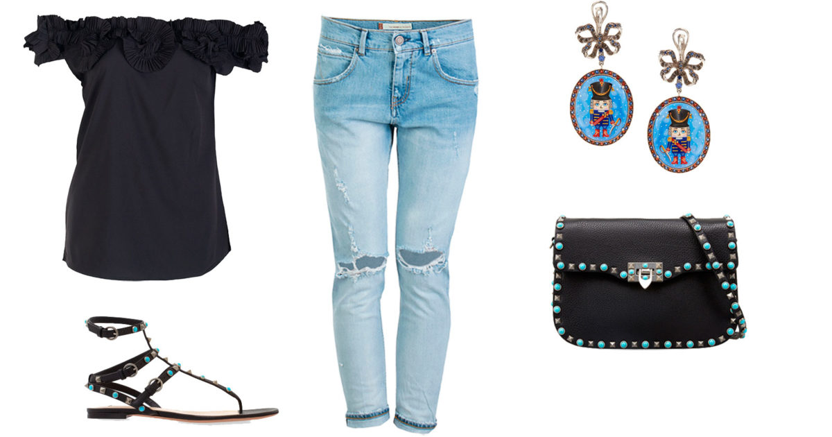 Романтичный look c рваными джинсами